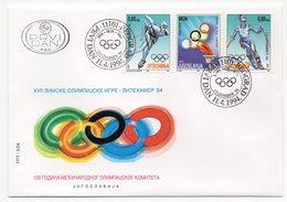 YUGOSLAVIA, 11.04.1994, COMMEMORATIVE ISSUE: WINTER OLYMPIC GAMES LILLEHAMMER, NORWAY - 1992-2003 Federal Republic Of Yugoslavia