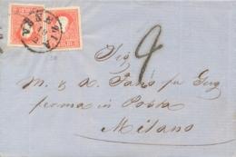 Lombardo Veneto 1860 Lettera Da Venezia Per Milano (Regno Di Sardegna) Con 2 X 5 Soldi Francesco Giuseppe II Tipo - Lombardo-Veneto