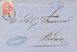Lombardo Veneto 1864 Sovracoperta Da Venezia Per Padova Con 5 Soldi Aquila Bicipite Dentellato 14 - Lombardo-Veneto