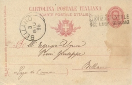 Regno D'Italia 1896 Intero Postale Cartolina 10 Cent Per Bellano Con Annullo Lineare SERVIZIO POSTALE SUL LAGO DI COMO - Storia Postale