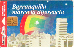 COLOMBIA - Barranquilla Makes The Difference, Metrotel Telecard $3000, Chip GEM2.3, Used - Colombia