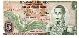 Colombia P.406  5  Pesos 1979 Unc - Colombia
