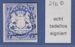 Bayern Wappen 7 Kreuzer Blau Mi.-Nr. 21b Mit Halbkreisstempel, Gepr. BRETTL BPP - Bavière