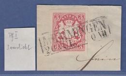 Bayern Wappen Mi.-Nr. 15 Mit PLF Verdickte Linke Untere 3. Kasten-O MEMMINGEN - Bavière