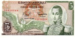 Colombia P.406  5  Pesos 1980 Unc - Colombia