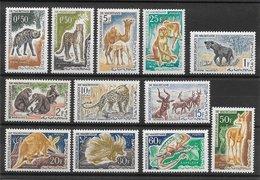 Mauritanie N°165 à 176  Animaux Antilope Félin Singe 1963 ** - Mauritanie (1960-...)