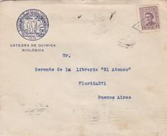 CATEDRA DE QUIMICA BIOLOGICA, FACULTAD MEDICINA-ENVELOPPE CIRCULEE 1942 URUGUAY A BUENOS AIRES BANDELETA PARLANTE- BLEUP - Uruguay