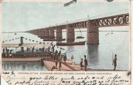 1908 Card Opening Of Godaveri Bridge 1a Stamp Sg123 - India