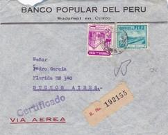 BANCO POPULAR DEL PERU-ENVELOPPE CIRCULEE 1942 VIA AEREA PERU A BUENOS AIRES RECOMMANDE - BLEUP - Peru