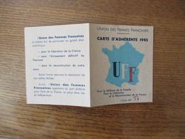 UNION DES FEMMES FRANCAISES POUR LA DEFENSE DE LA FAMILLE, LA LIBERATION ET RECONSTRUCTION DE LA FRANCE CARTE1945 TIMBRE - Documents Historiques