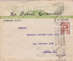 LA FABRIL COMERCIAL CORDOBA-ENVELOPPE CIRCULEE 1944 A SANTA FE, BANDELETA PARLANTE - BLEUP - Peru