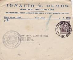 IGNACIO M OLMOS SASTRE DIPLOMADO-ENVELOPPE CIRCULEE 1951 SAN JUAN A BUENOS AIRES, ARGENTINE, FULL CONTENT INSIDE - BLEUP - Argentinien