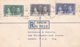 ENVELOPPE CIRCULEE GIBRALTAR A LONDON 1937 BANDELETA PARLANTE - BLEUP - Gibraltar