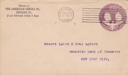 ENTIER AMERICAN CEREAL CO CHICAGO CIRCULEE 1894 A NEW YORK - BLEUP - Enteros Postales