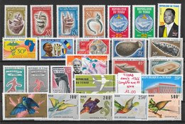 Tchad 1966 Année Complète 25 Tp Art Football Oiseau Préhistoire 1966 ** - Tchad (1960-...)