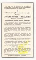 DP Dokter Joseph Robert Merchier ° Tielt 1872 † Oostende 1944 X M. Zwaenepoel - Images Religieuses