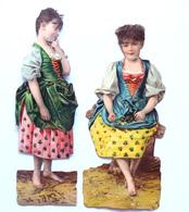 2 CHROMOS DECOUPIS..  H : 13 ET  14  Cm....JEUNES FEMMES....  ROBE FLEURIE - Découpis