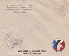 LA FILATELIA COLON-ENVELOPPE CHILE OBLITEREE 1956 BASE AEREA ANTARTICA SIGNEE - BLEUP - Forschungsstationen