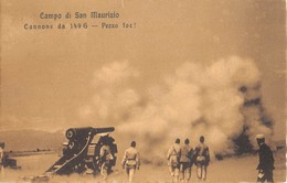 """0409 """" CAMPO DI SAN MAURIZIO (TO) - CANNONE DA 149 G - PEZZO FOC!"""" ANIMATA, ARTIGLIERI, MANOVRE. CART. ORIG. SPED. 1910 - Materiale"""