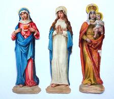 3 CHROMOS DECOUPIS..IMAGE RELIGIEUSE...  H : 12  Cm...LA SAINTE VIERGE - Découpis