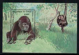 Congo 1991 // Gorilles, Bloc-feuillet Neuf** MNH - Gorilles