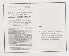 DOODSPRENTJE MOENS FRANS WEDUWNAAR VERHEYEN BAASRODE (1880 - 1960) - Images Religieuses