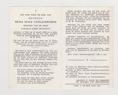 DOODSPRENTJE VANLANDEGHEM ELISA WEDUWE EECLHOUT TIELT (1869 - 1959) - Images Religieuses