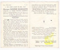 DP Eugenie Manhaeve ° Beveren Roeselare 1869 † 1947 X Camiel Laconte / Callewaert Desmet Pollet Vandewynckele Bulckaert - Images Religieuses
