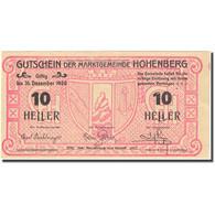 Billet, Autriche, Hohenberg, 10 Heller, Blason 1920-12-31, SPL Mehl:FS 388IIb - Autriche