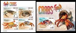SIERRA LEONE 2019 - Crabs. M/S + S/S Official Issue. - Schaaldieren