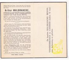 DP Arthur Malbrancke ° Beveren Ad IJzer Alveringem 1872 † Bulskamp Veurne 1944 X Cambier Xx Vanbiesbrouck Xxx Bryon - Images Religieuses