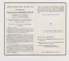 DOODSPRENTJE BIESBROUCK CLARA ECHTGENOTE VANTHOMME BEVEREN - ROESELARE (1916 - 1955) - Images Religieuses