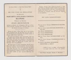 DOODSPRENTJE BLOMME MARGARETA WEDUWE DECEUNINCK BRIELEN ROESELARE (1894 - 1952) - Images Religieuses