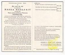 DP Maria Maelfait / Vermeulen ° Kuurne 1880 † Voormezele Ieper 1945 / Braem De Cat Lemahieu De Coene Vandewalle - Images Religieuses