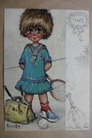 """CPSM Illustrateur Michel THOMAS """"Les GAMINS"""" Enfant Titi Belle Petite Fille """"MADEMOISELLE TENNIS"""" SPORT - Illustrators & Photographers"""
