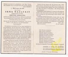 DP Irma Maelfait ° Ieper 1888 † 1945 X Hector Lemahieu / Vermeulen Demuydt - Images Religieuses