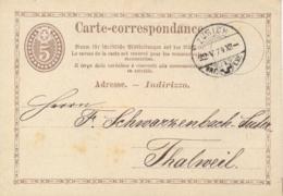 Switzerland 1874 Postal Stationery Postcard 5 C. Brown From Zürich To Thalweil - Interi Postali
