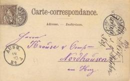 Switzerland 1876 Postal Stationery Postcard 5 C. Brown Without Border + Stamp 5 C. Helvetia From Aarau To Nordhausen - Interi Postali
