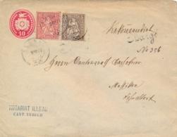Switzerland 1877 Registered Postal Stationery Envelope 10 C. + Stamps 5 C. + 10 C. From Illnau - Interi Postali