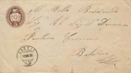 Switzerland 1878 Postal Stationery Envelope 5 C. From Cabbio To Balerna - Interi Postali