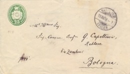 Switzerland 1888 Postal Stationery Envelope 25 C. From Basel To Italy - Interi Postali