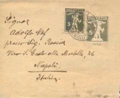 Switzerland 1933 Postal Stationery Wrapper 5 C. (6 C.) + Stamp 5 C. From Teufen To Italy - Interi Postali
