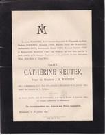 LUXEMBOURG RUREMONDE Catherine REUTER Veuve J.B. WAGENER 1805-1892 Famille NYST - Décès