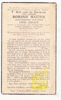 DP Romanie Matten ° Kortemark 1875 † Poelkapelle 1935 X Henri Deraeve - Images Religieuses