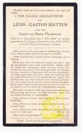 DP Leon G. Matten / Vandooren 27j. ° Zonnebeke 1907 † St.-Juliaan Langemark 1934 - Images Religieuses