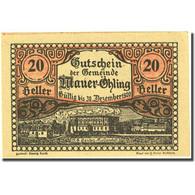 Billet, Autriche, Mauer Ohling, 20 Heller, Village, 1920, SPL Mehl:FS 599c - Autriche