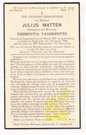 DP Julius Matten ° Langemark 1852 † Poelkapelle 1936 X Emerentia Vandeputte - Images Religieuses