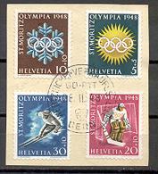LIQUIDATION TOTALE :1948 - Zu N° 25w/28w - Mi N° 492/495 - Yv N° 449/452- Oblitérés (o) Sur Fragment De Lettre - Suisse