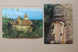 La Sarraz (Suisse, Vaud), Château Du Millieu Du Monde, Lot De 2 Cartes Postales Grand Format - VD Vaud