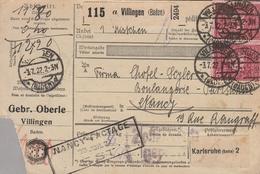 1922 Colis Postal - Cachets VILLINGEN (Baden) - Griffes NANCY FACTAGE / NANCY POSTAL - Karlsruhe (Baden) & Timbres - Deutschland